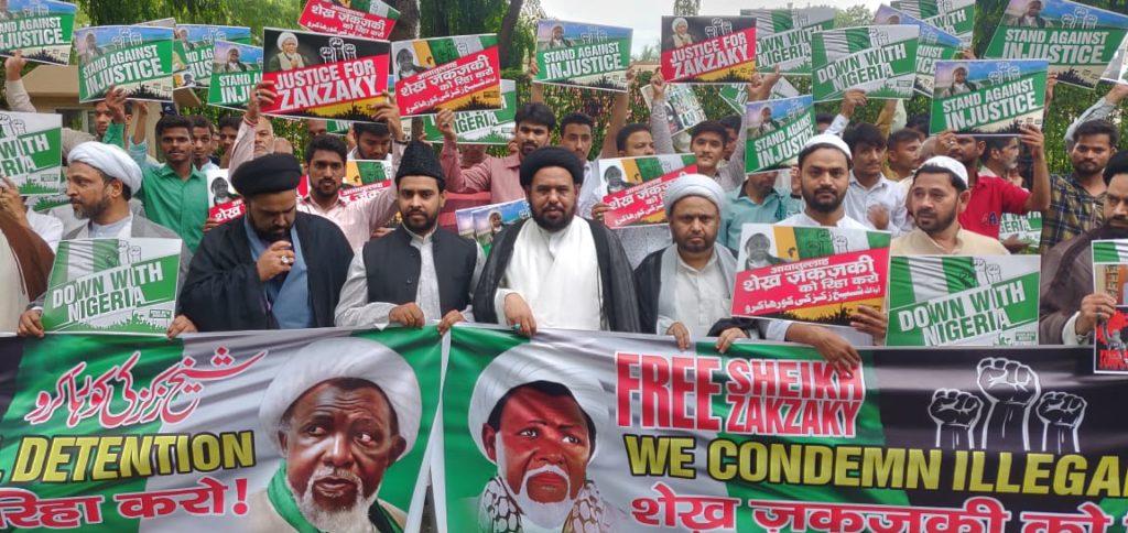 Photos: #FreeZakzaky Rally staged at the Nigerian Embassy New Delhi, India
